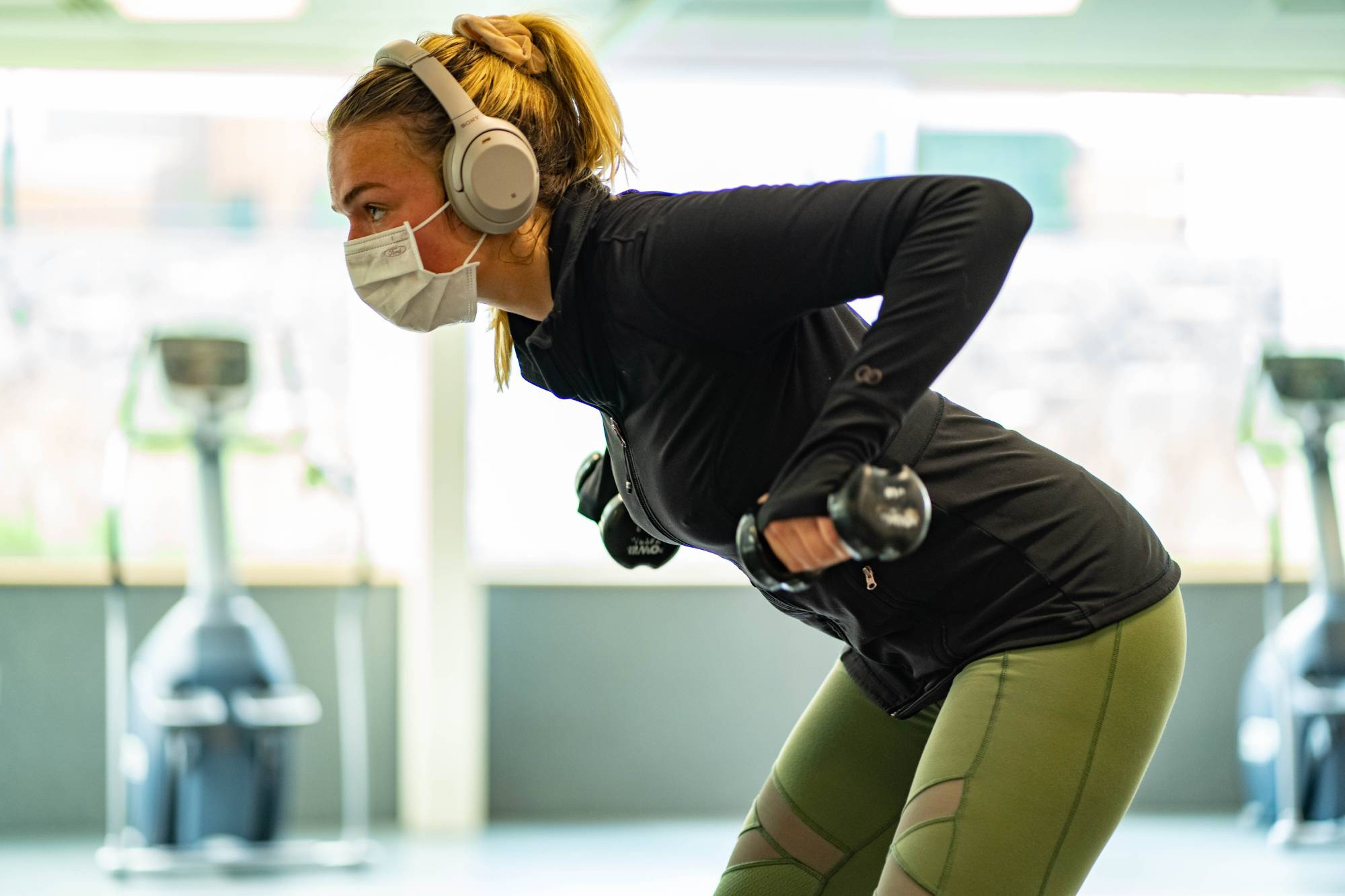 Exercising with Face Covering in Rec Center